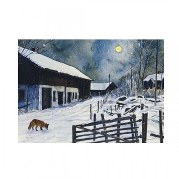 Postkarte Fuchs im Mondschein