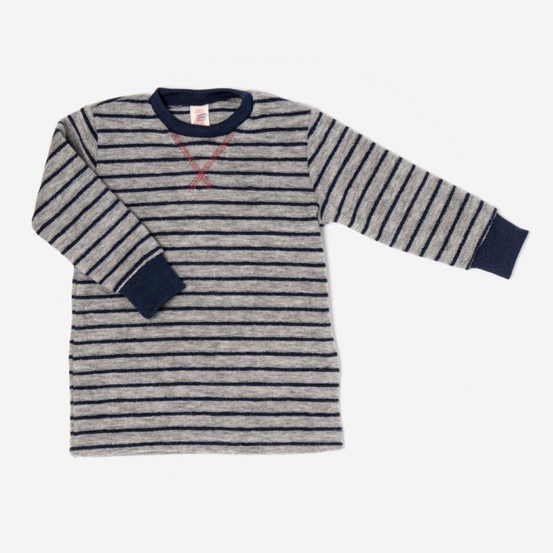 engel langarm shirt pullover wollfrotte wolle grau melange marine ringel streifen