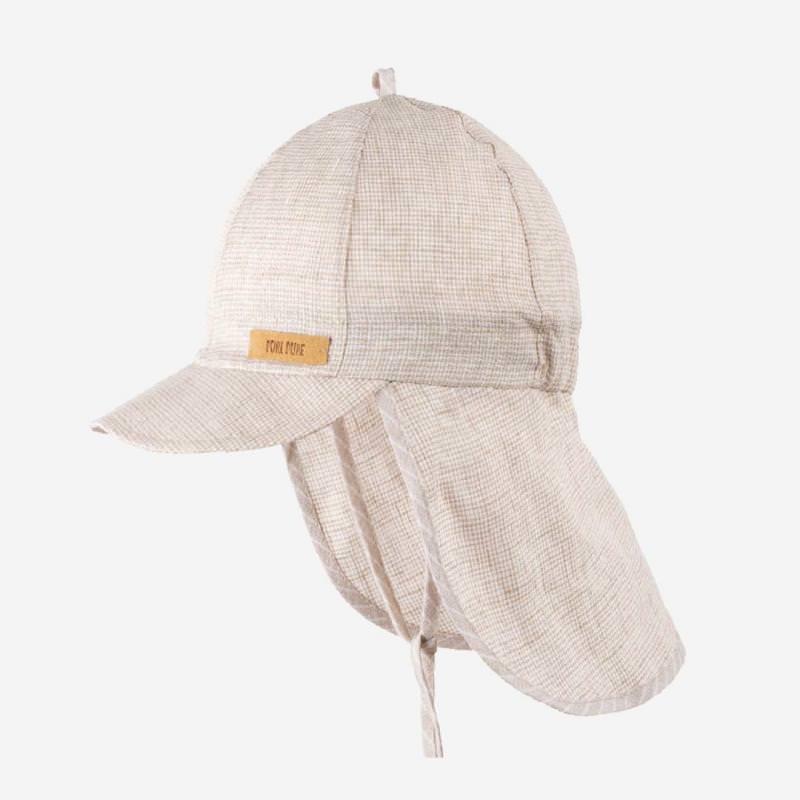 Schirmmütze mit Nackenschutz Leinen sand