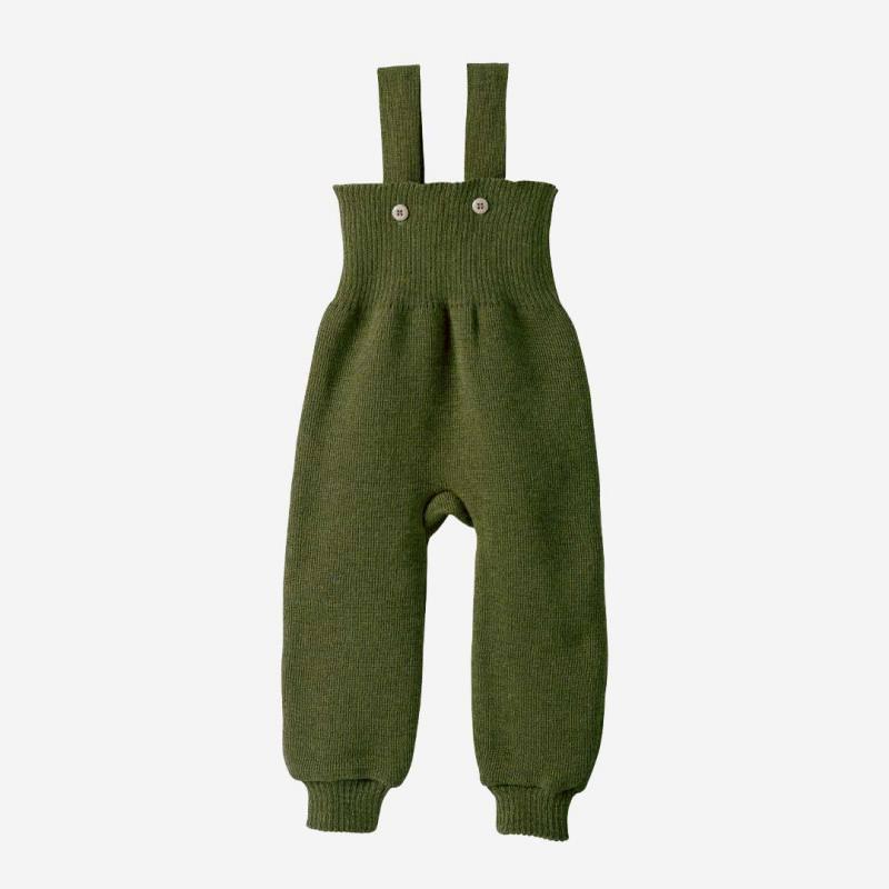 Baby Strick Trägerhose von Disana aus Wolle in oliv