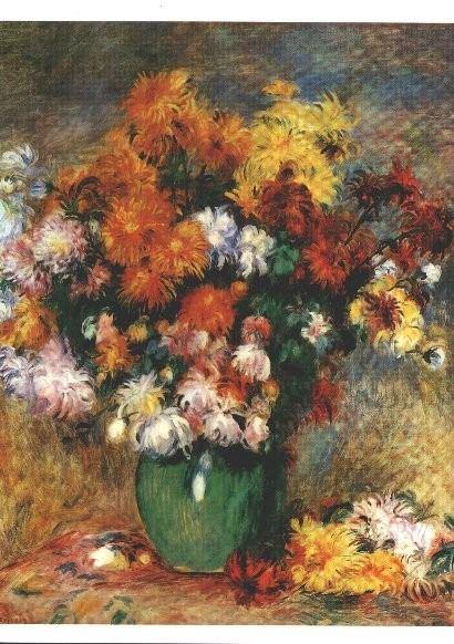 Postkarte Vase mit Chrysanthemen