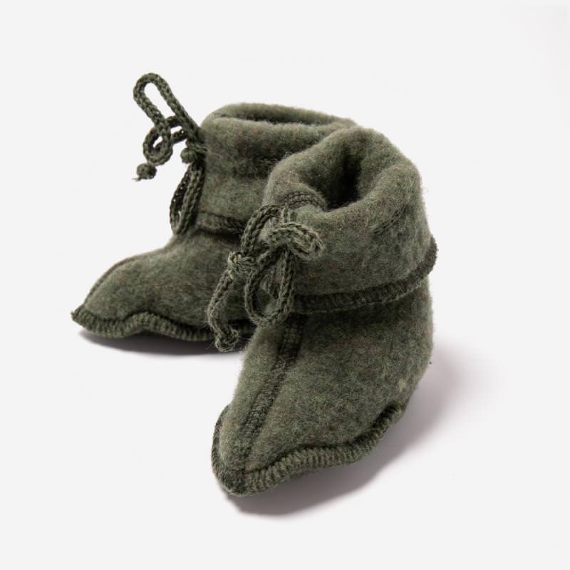 Baby Fleece Schühchen von Engel aus Wolle in schilf melange