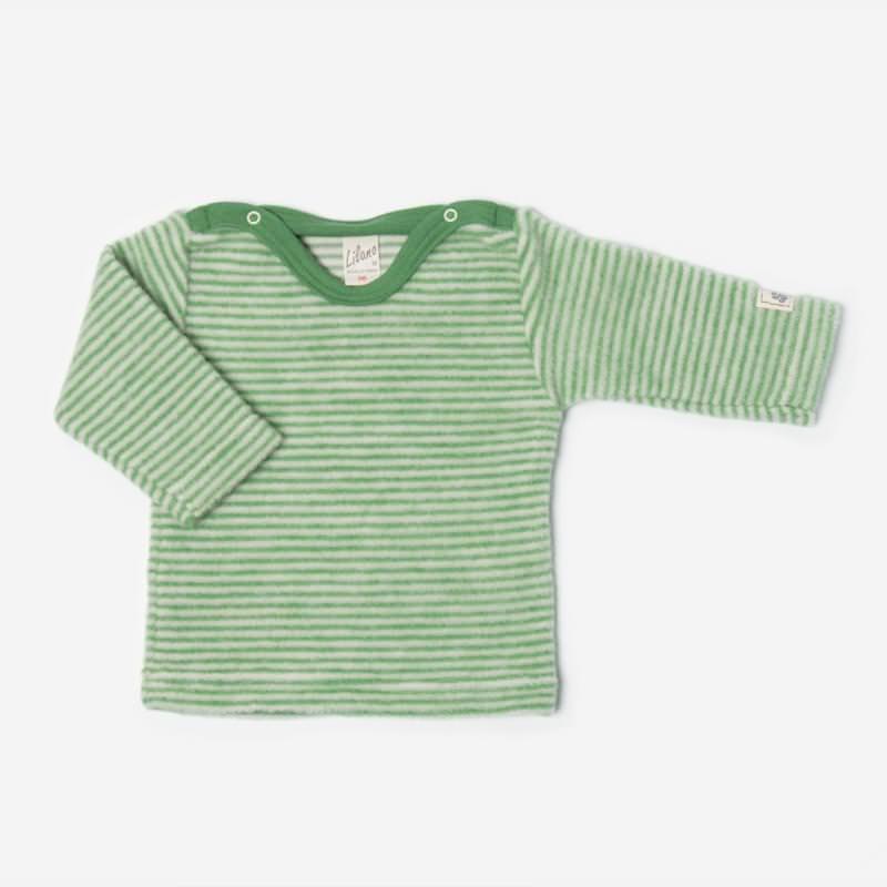 Shirt Ringel Wollfrottee-Plüsch grün