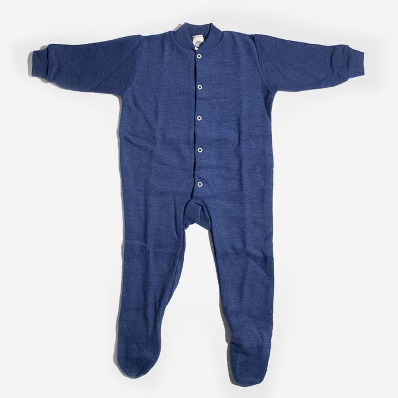 Schlafanzug mit Fuß Wollfrottee marineblau