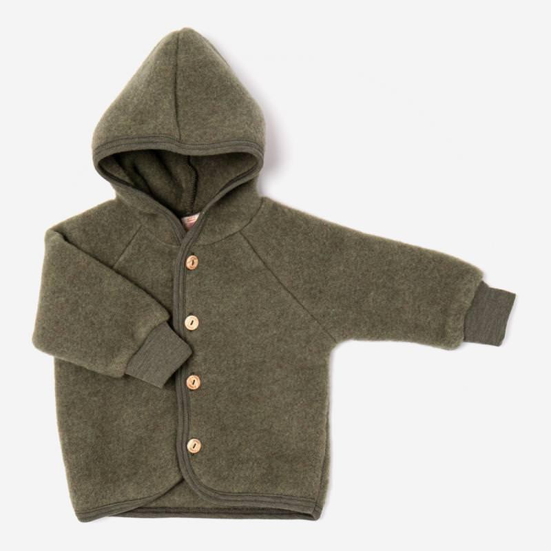 Baby Wollfleece Kapuzenjacke von Engel in schilf melange