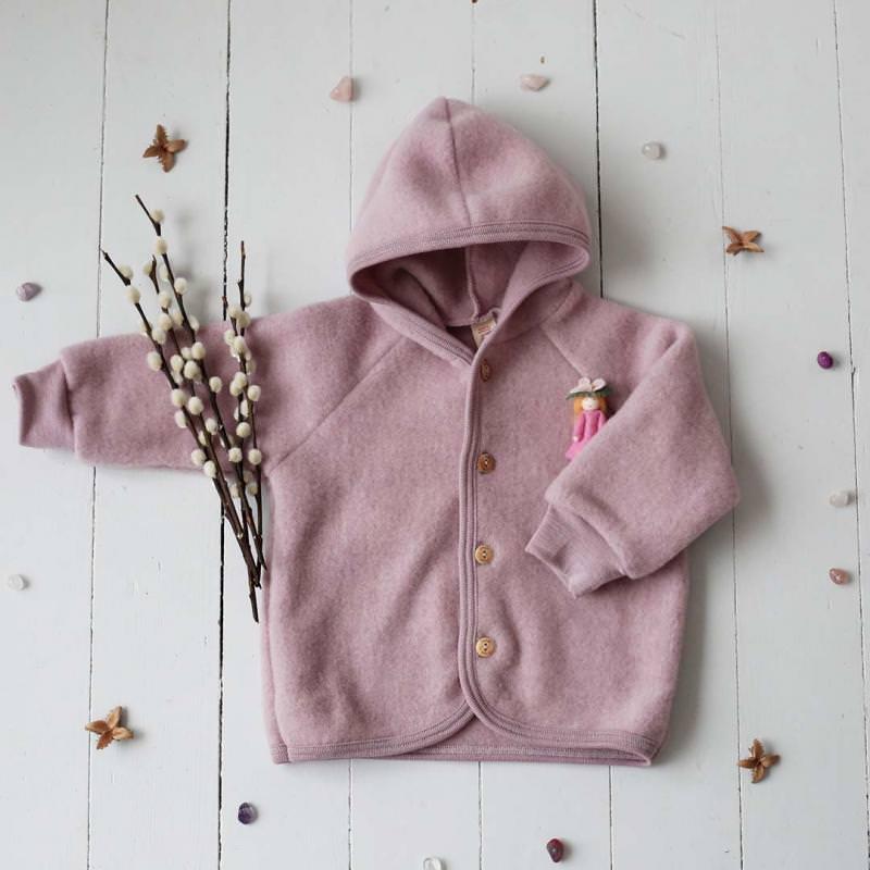 Baby Wollfleece Kapuzenjacke rosenholz