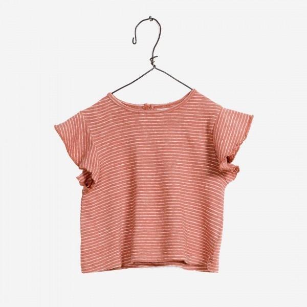 Gestreiftes Baumwolle-Leinen Shirt in terra