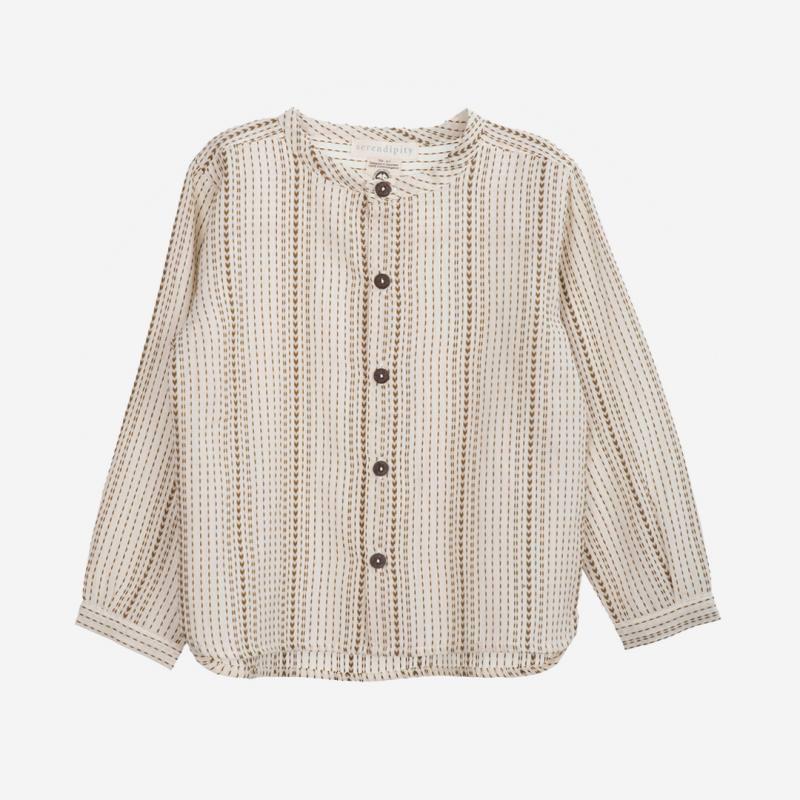 Hemd Peasant Shirt seagrass lines