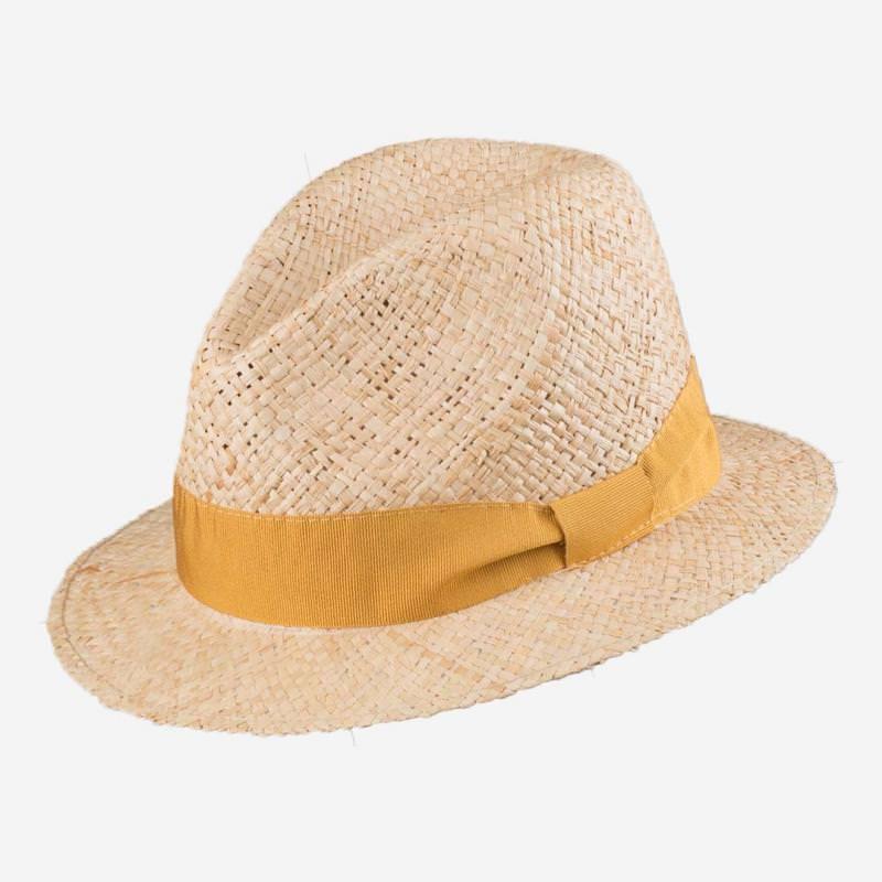 LADEN Damen Strohhut mit gelbem Band