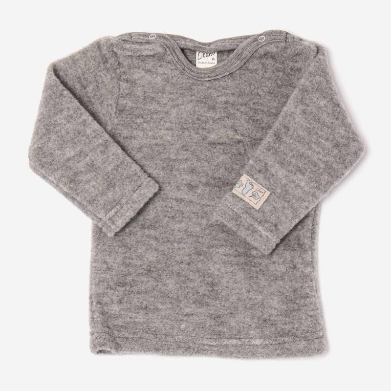 Baby Shirt von Lilano aus Wollfrottee-Plüsch in hellgrau
