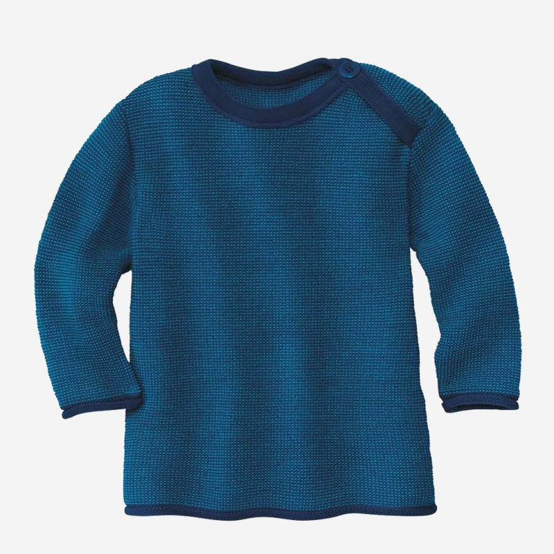 Melange-Pullover Wolle marine-blau