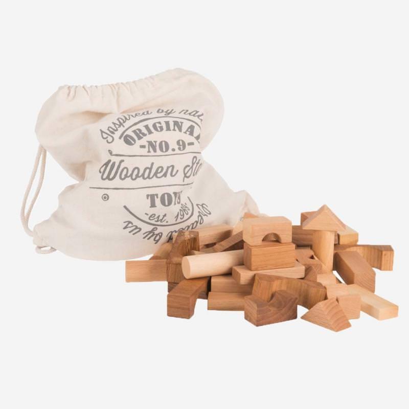 Holzbausteine Set Natur im Sack 100 St.