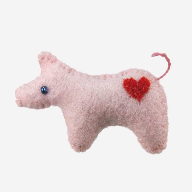 Kleine Filz Freunde Glücksschwein