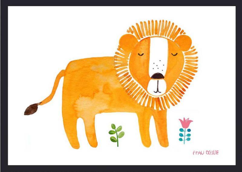 Print Löwe mit Blumen