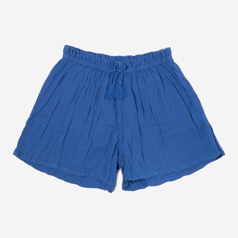 Musselin Shorts Damen blau