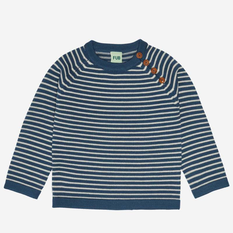 Pullover striped Wolle petrol/ecru