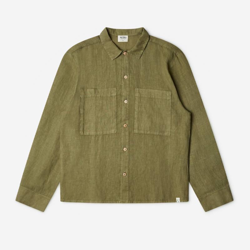 Unisex Bobbie Shirt Adult von Matona aus Leinen in olive