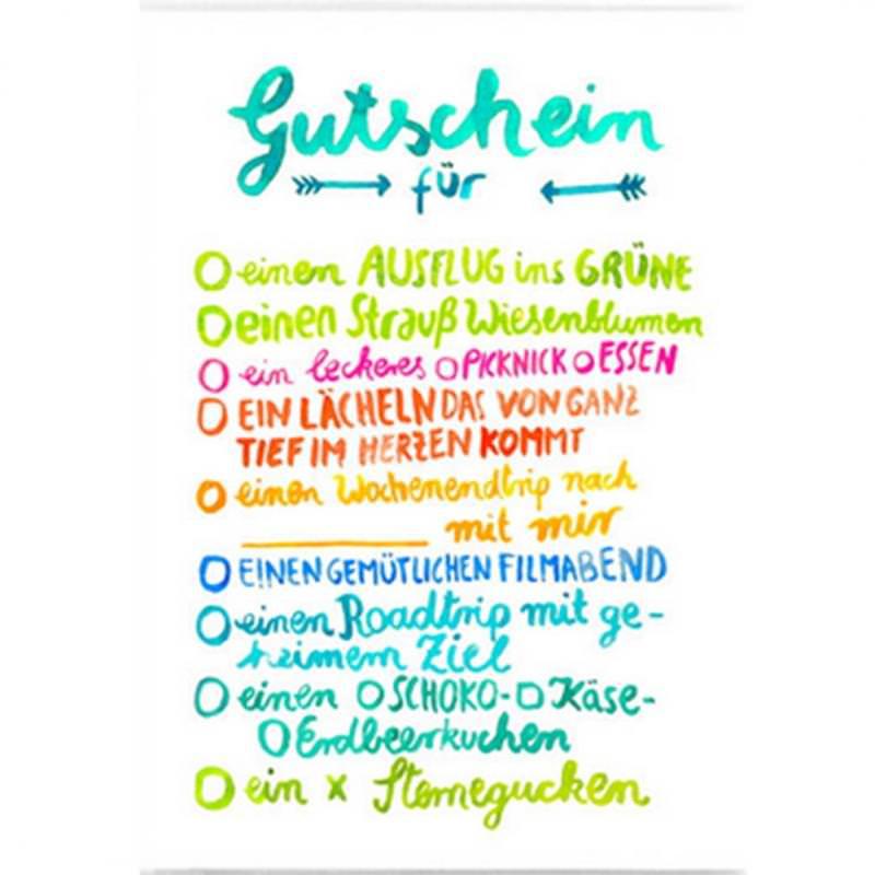 Postkarte Gutschein