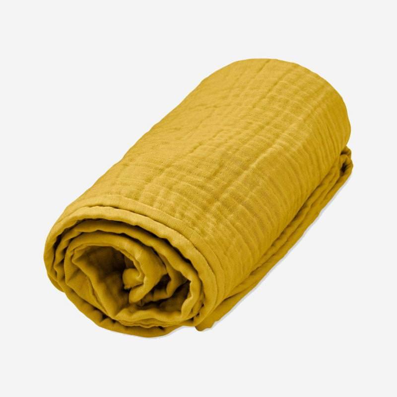 Musselin Decke mustard