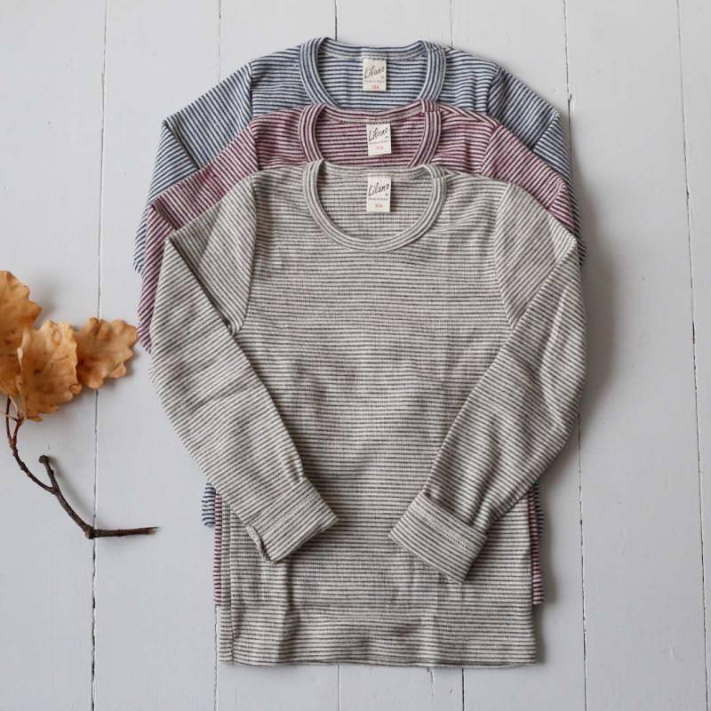 Kinder Shirt Ringel Wolle/Seide