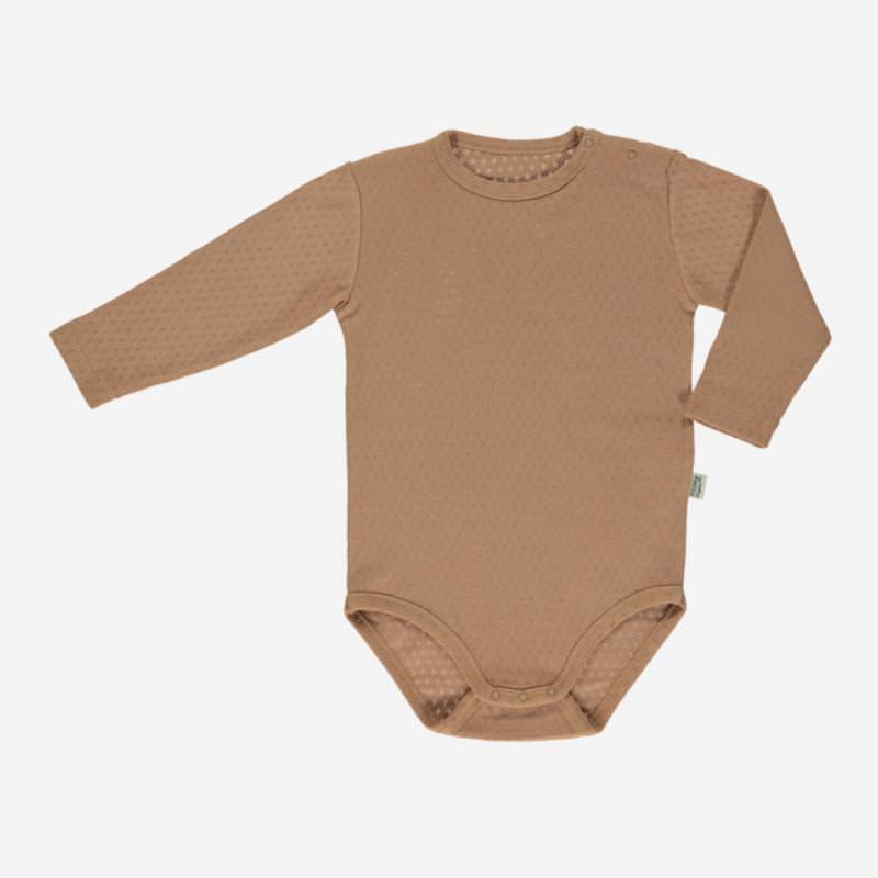 Baby Body langarm von Poudre Organic aus Bio-Baumwolle in indian tan