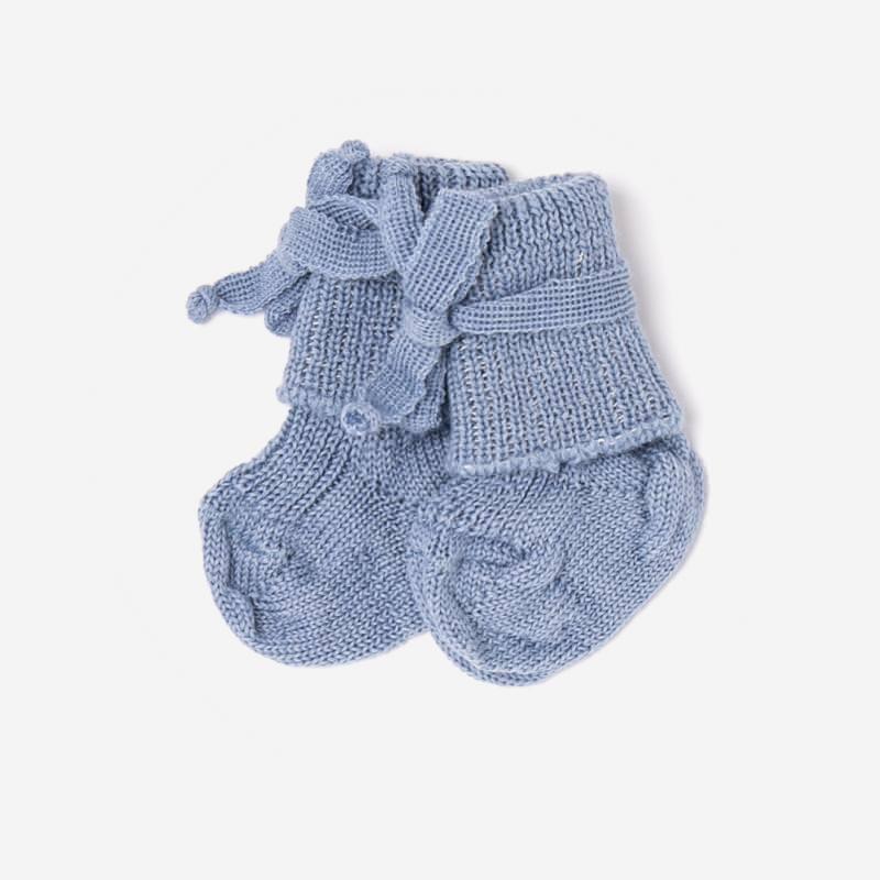 Baby Socke mit Schleife von Hirsch aus Wolle in bergblau