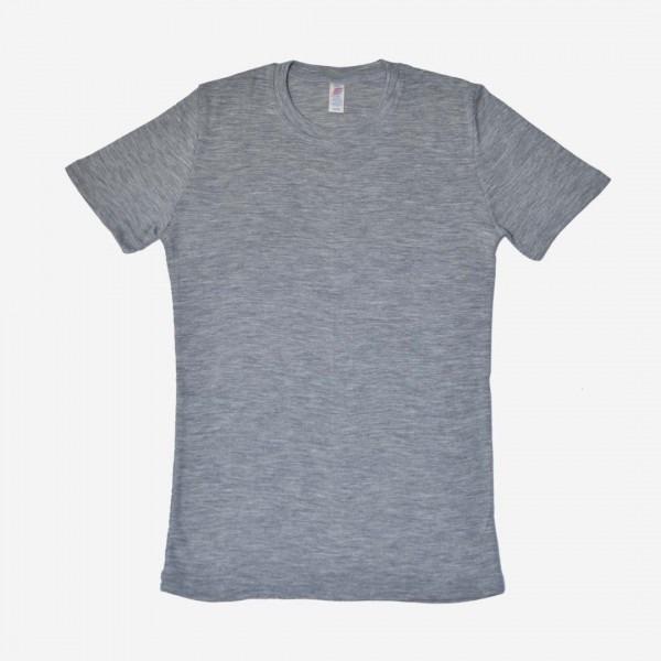 Herren Shirt kurzarm Wolle/Seide grau