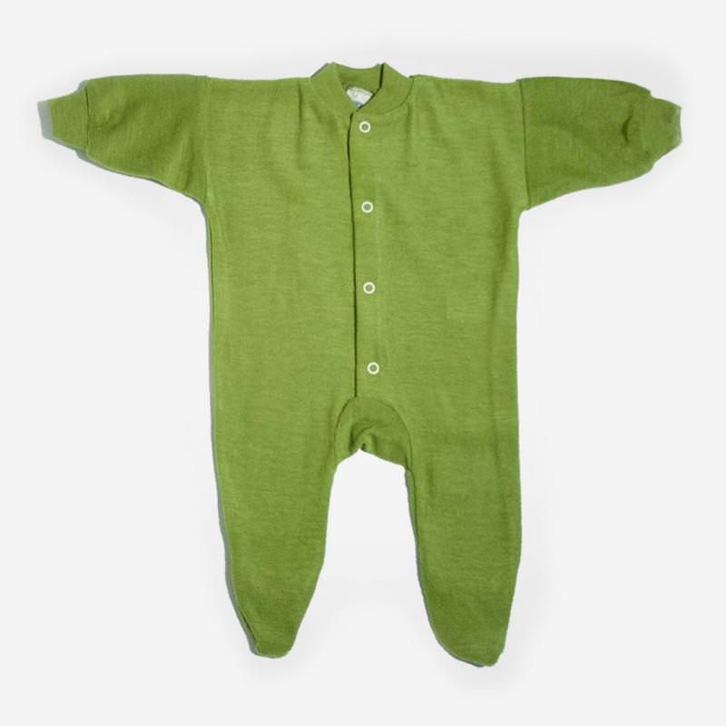 Schlafanzug mit Fuß Wollfrottee grün