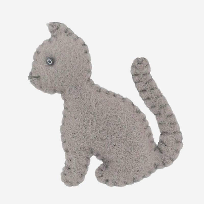Kleine Filz Freunde graue Katze
