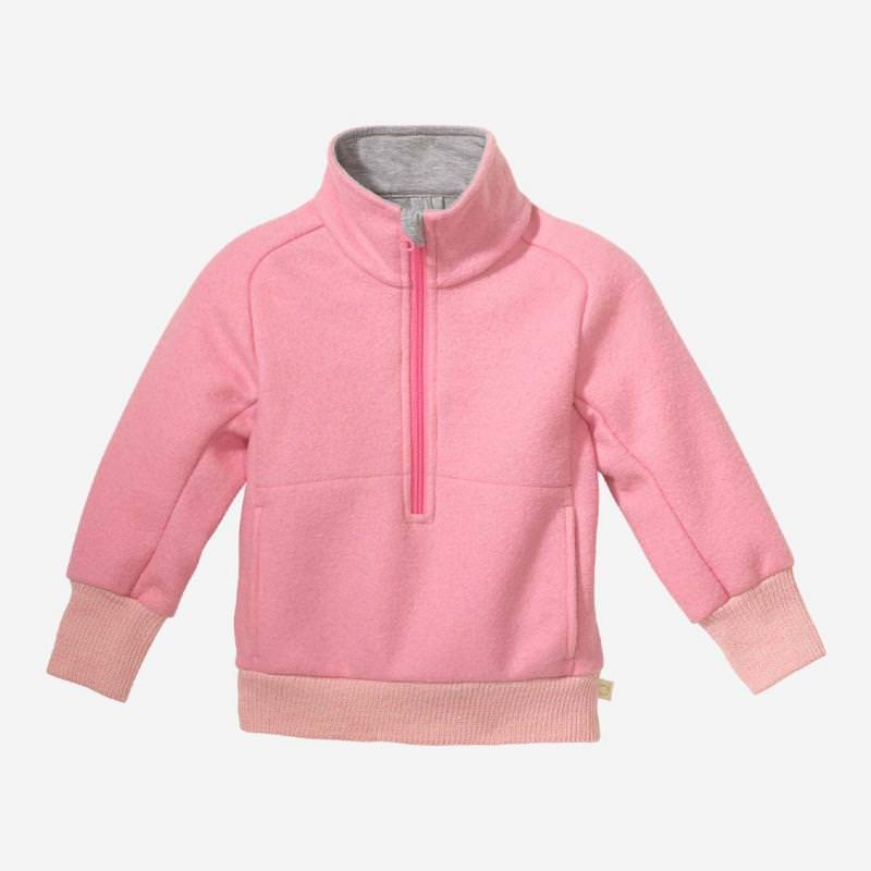 Kinder Troyer aus gewalkter Schurwolle von Disana in rosa