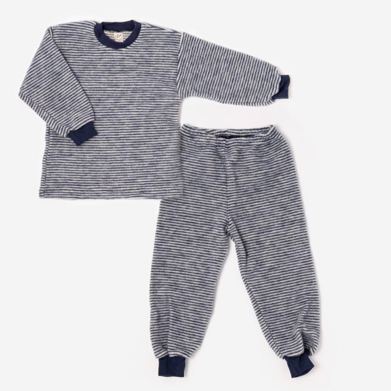 Kinder Schlafanzug Wollfrottee Plüsch von Lilano in marine Ringel 1