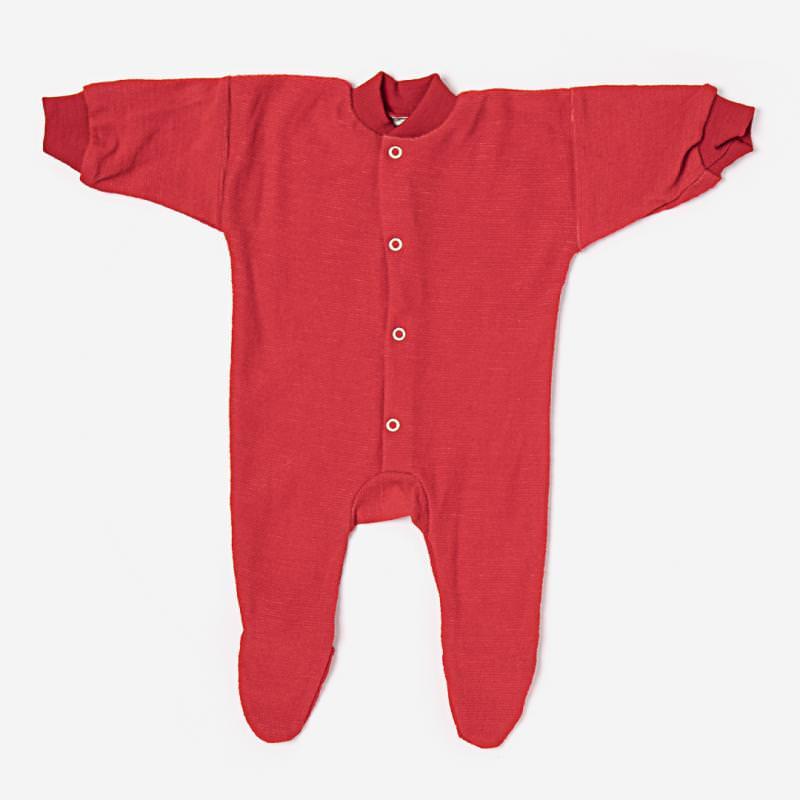 Schlafanzug mit Fuß Wollfrottee rot