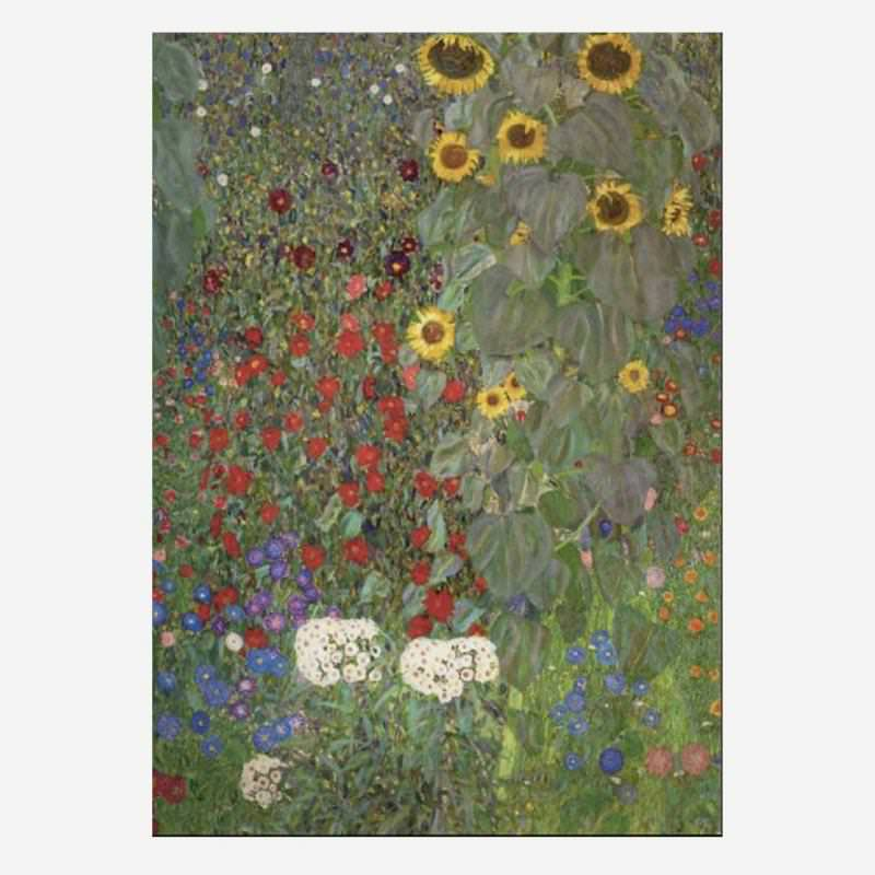 Postkarte Garten mit Sonnenblumen