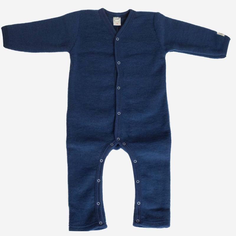 Anzug Uni Wollfrottee-Plüsch marineblau