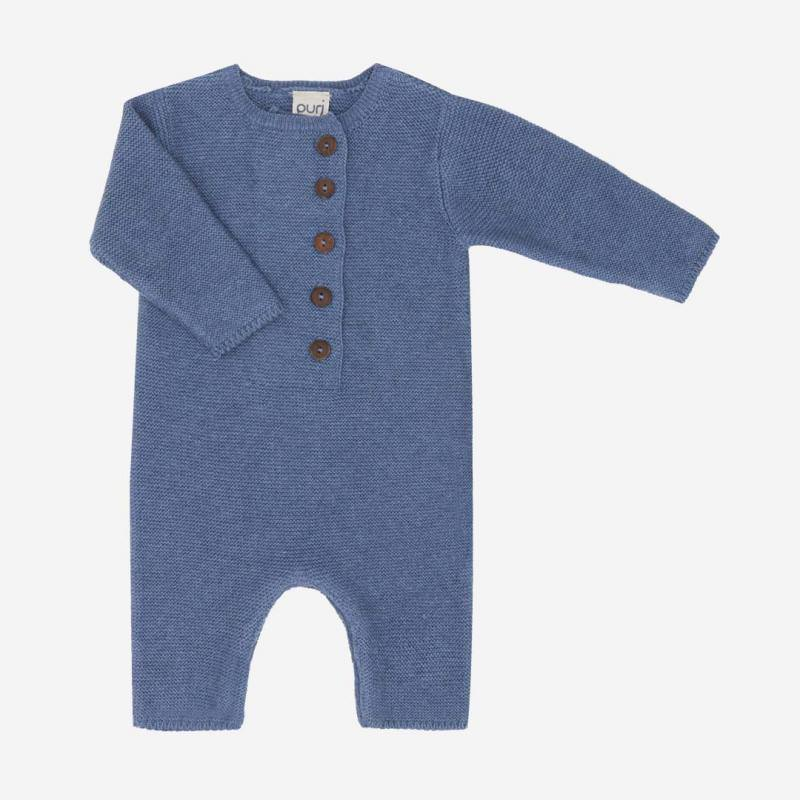 Overall Krausstrick Baumwolle Wolle china blue