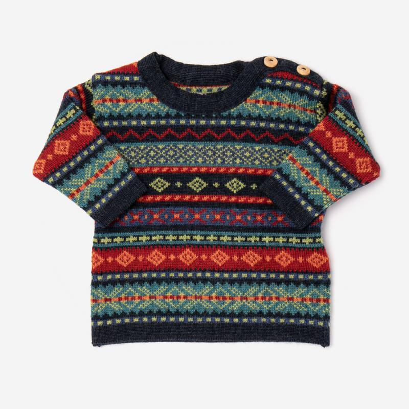 Baby Pullover Hendrik aus Wolle von Flomax in nachtblau/jeans