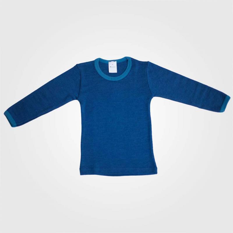 Unterhemd Kontrastbund Wolle/Seide