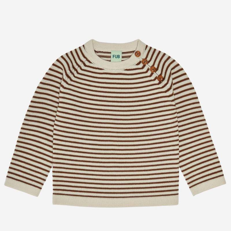 Pullover striped Wolle ecru/umber