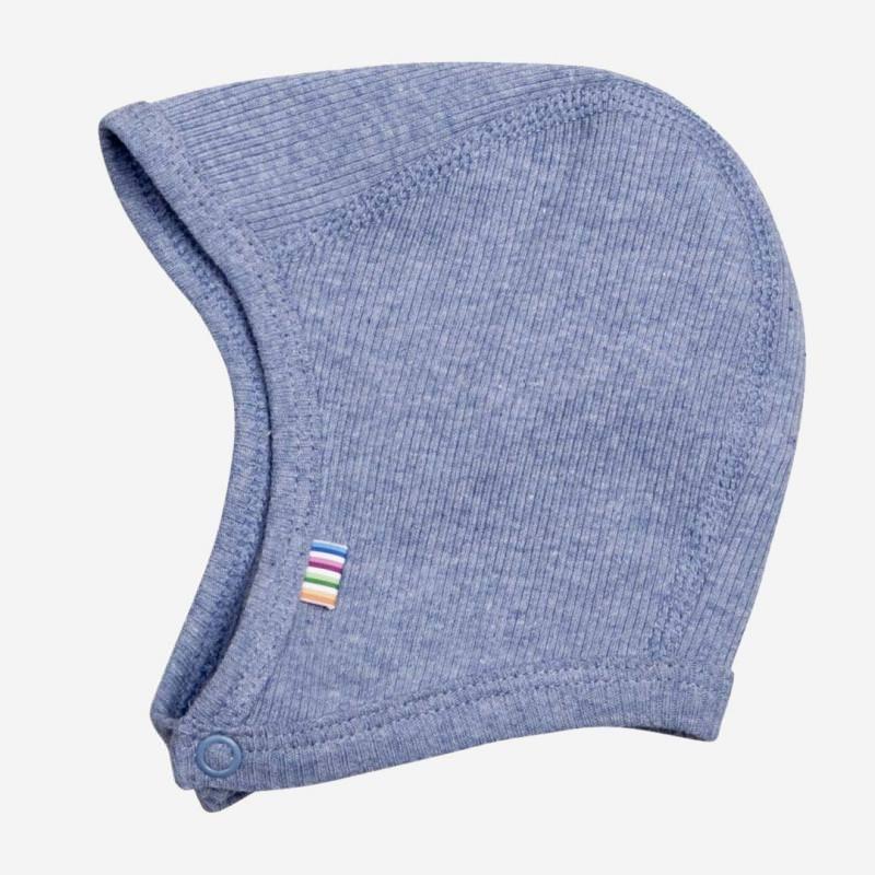 Babyhäubchen Baumwolle blau melange