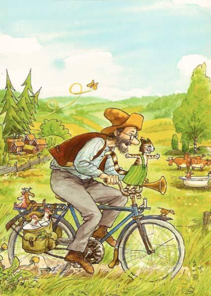 Postkarte Findus und Petterson Fahrrad