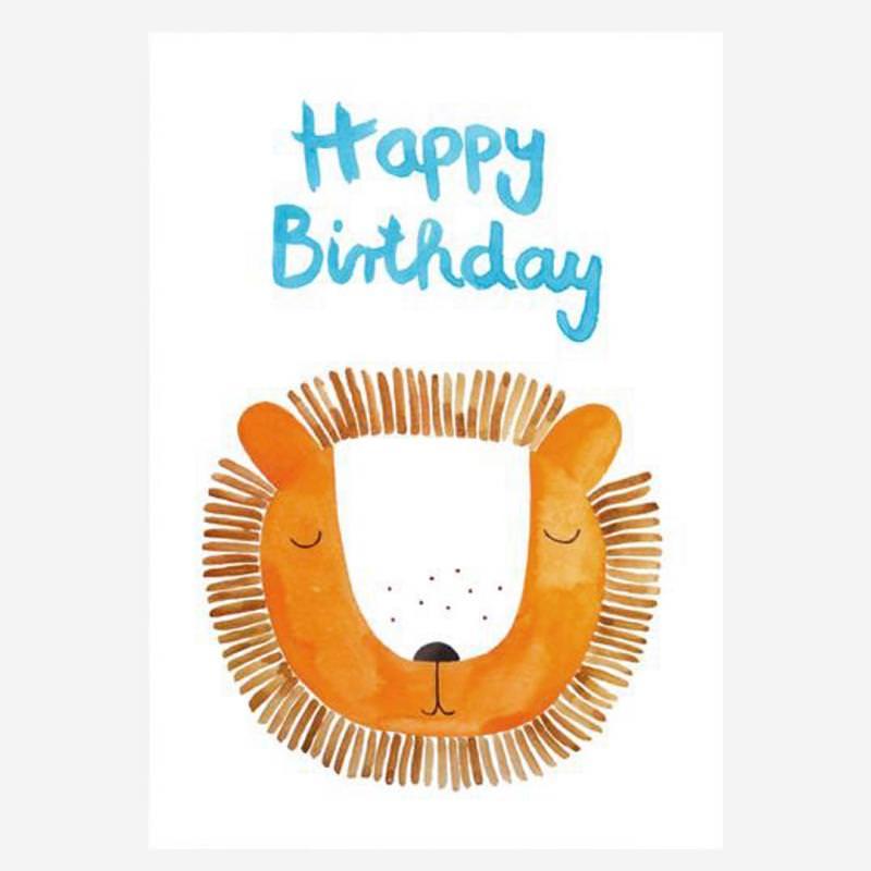 """Postkarte """"Happy Birthday"""" (Löwe)"""