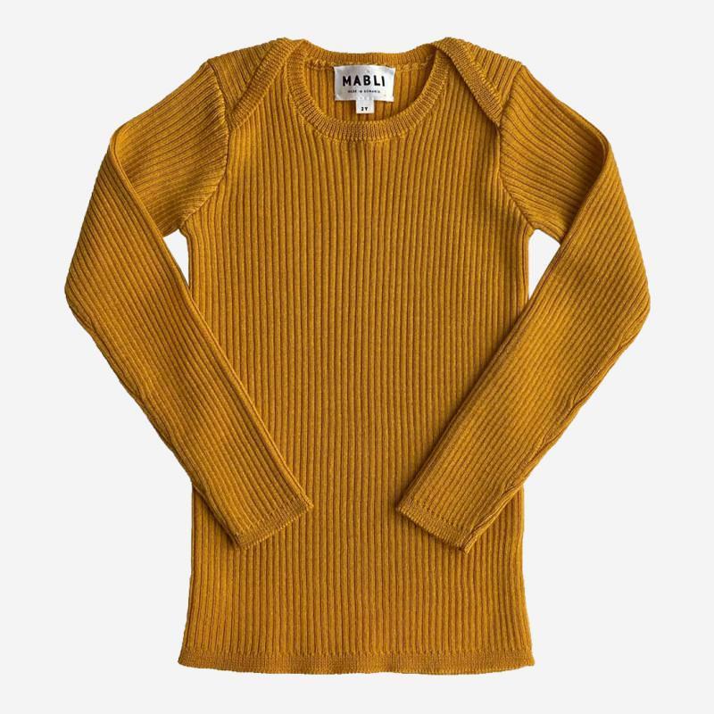 Pullover Skinny Rib Merinowolle saffron