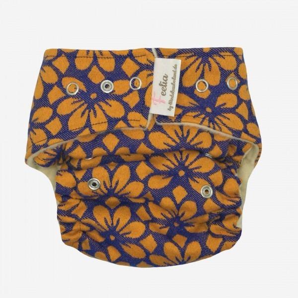 Wollüberhose Blossom Orange/blau
