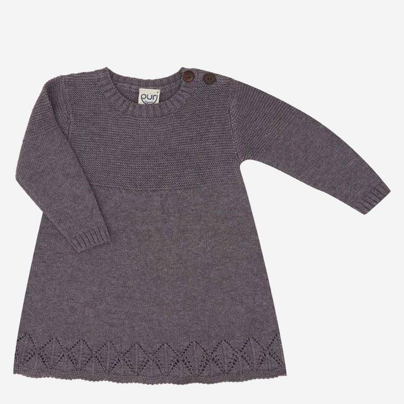 Kleid Ajour Baumwolle Wolle grau