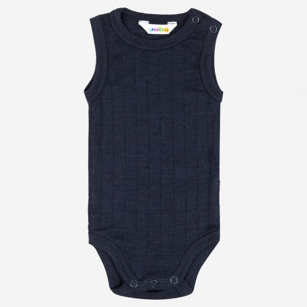 Body ohne Arm Wolle/Seide navy