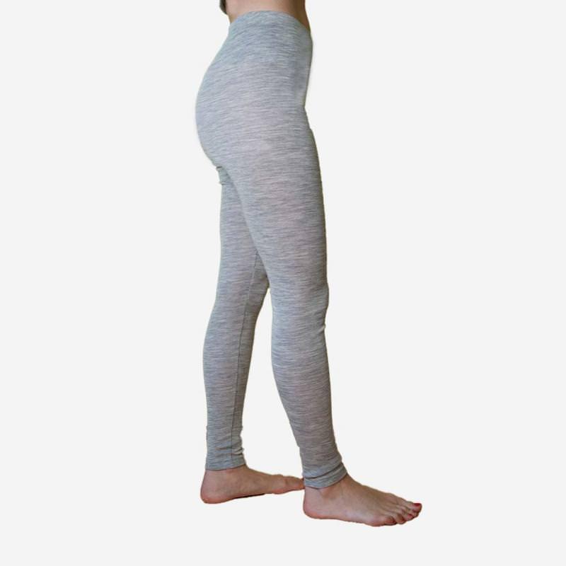 Damen Leggings grau Wolle/Seide
