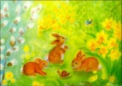 Postkarte Drei Hasen