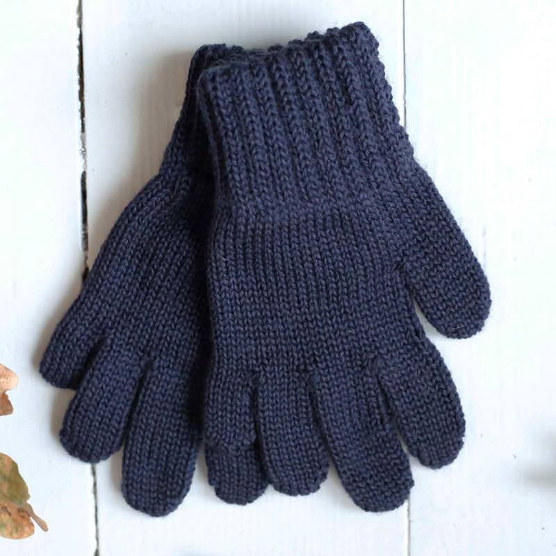 Finger Handschuhe Merinowolle marine