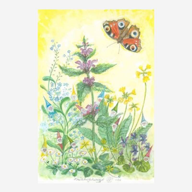 Postkarte Frühlingszwerge