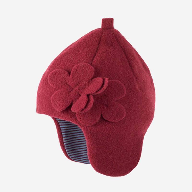 Mütze mit Blume Fleece burgundy